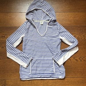 Roxy Blue + Cream Striped Knit Hoodie M